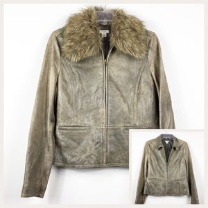 Distressed Leather Removable Fur Collar Jacket